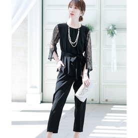 背面Vラインパンツドレス (ブラック)