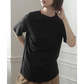 ハイネックコットンTシャツ (ブラック)