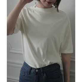 ハイネックコットンTシャツ (オフホワイト)