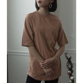 ハイネックコットンTシャツ (モカ)