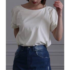 コットン100%袖タックTシャツ (オフホワイト)
