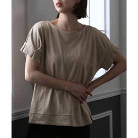 コットン100%袖タックTシャツ (グレーベージュ)