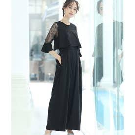 ドッキング風ワイドパンツドレス (ブラック)