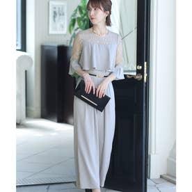 ドッキング風ワイドパンツドレス (ライトグレー)