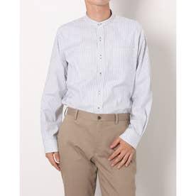 形態安定ノーアイロン ラウンドテール スタンド  綿ストレッチ長袖ビジネスワイシャツ (ホワイト)