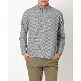 形態安定ノーアイロン ラウンドテール ボタンダウン  綿ストレッチ長袖ビジネスワイシャツ (ブラック)
