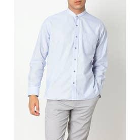 形態安定ノーアイロン からみ織 ラウンドテール スタンド  長袖ビジネスワイシャツ (ライトブルー)