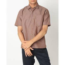 形態安定ノーアイロン 半袖 和紙混 ラウンドテール ワイド ブ ビジネスシャツ (ブラウン)