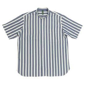 形態安定ノーアイロン 半袖 和紙混 ラウンドテール スタンド ビジネスシャツ (ダークブルー)