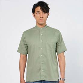 形態安定ノーアイロン 半袖 Wガーゼ ラウンドテール スタンド ビジネスシャツ (ライトカーキ)