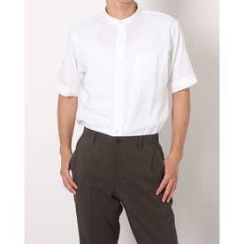 形態安定ノーアイロン 半袖 Wガーゼ ラウンドテール スタンド ビジネスシャツ (ホワイト)