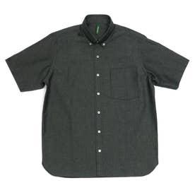 形態安定ノーアイロン 半袖 和紙混 ラウンドテール ボタンダウン ビジネスシャツ (ブラック)