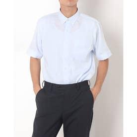 形態安定ノーアイロン 半袖 Wガーゼ ラウンドテール ボタンダウン ビジネスシャツ (ライトブルー)