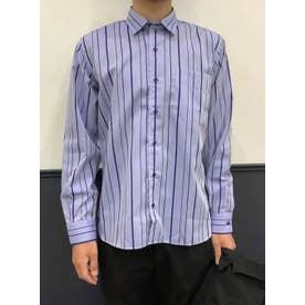 形態安定 ワイド衿 ラウンドテール 綿100% 長袖ビジネスシャツ (ネイビー)