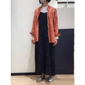 形態安定 ラウンドテール スタンドカラー 長袖シャツ (オレンジピンク)