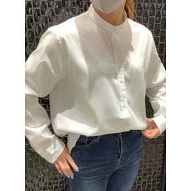 形態安定 ラウンドテール スタンドカラー 長袖シャツ (ホワイト)