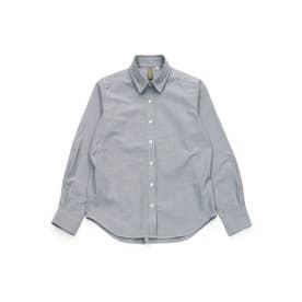 ベーシック レギュラー衿 長袖カジュアルシャツ (グレイッシュブルー)