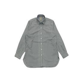 ラウンドテール ワイド衿 長袖カジュアルシャツ (グレー)