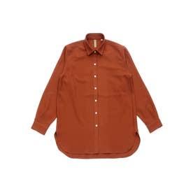 ラウンドテール ワイド衿 長袖カジュアルシャツ (ダークオレンジ)