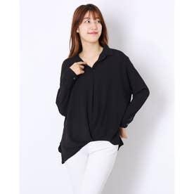 Provador異素材使いタックシャツ (ブラック)