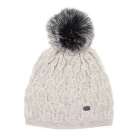 PAJAR MIST LADIES CABLE HAT WITH GLITTER YARN FAUX FUR POMPOM  KNIT (GRAY)