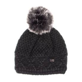 PAJAR COLD LADIES HEATHER CHUNKY KNIT HAT WITH FAUX FUR POMPOM  KNIT (BLACK)