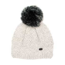 PAJAR COLD LADIES HEATHER CHUNKY KNIT HAT WITH FAUX FUR POMPOM  KNIT (GRAY)