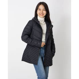 PAJAR SUNNYBROOKE MULTI-CHEVRON QUILTED PACKABLE DOWNFILL PUFFER WITH FIXED HOOD (BLACK)