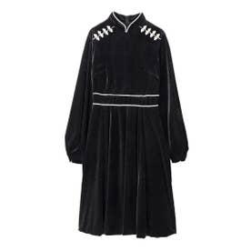 Velor Mandarin Mini Dress (ブラック)