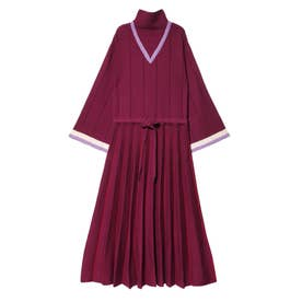 Pleats Knit Dress (レッド)