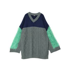 Switching V-neck Sweater (グリーン)