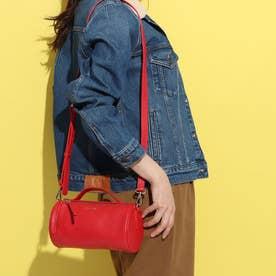 【MORITA & Co.】 Pupo プーポ バッグ ショルダーバッグ 牛革 ハンドル付き シンプルなバッグ 筒型バッグ (レッド)
