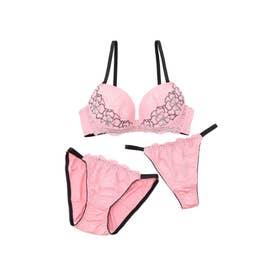 【EFカップ】sexy flower lace3/4モールドカップブラ&ショーツ+Tバック【返品不可商品】 (ピンク)