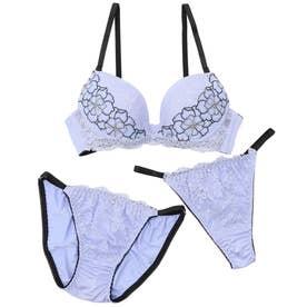 sexy flower lace3/4モールドカップブラ&ショーツ+Tバック【返品不可商品】 (ブルー)