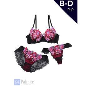 【3点セット】Gorgeous flowers Lace 3/4モールドカップブラ&ショーツ+Tバック【返品不可商品】 (ピンク)
