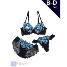 【3点セット】Gorgeous flowers Lace 3/4モールドカップブラ&ショーツ+Tバック【返品不可商品】 (ネイビー)