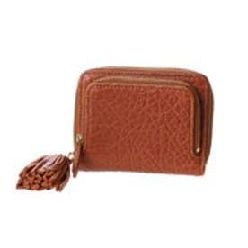 厚口シープタッセル付き二つ折り財布 (キャメル)