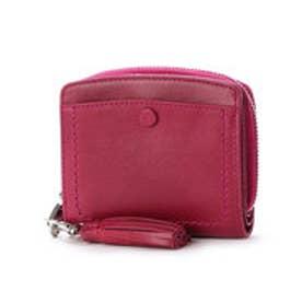 インド牛革くるみホックラウンド二つ折り財布 (ピンク)