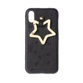 星型パンチングやぎ革iPhoneケース(iPhoneX・XS用) (ブラック)