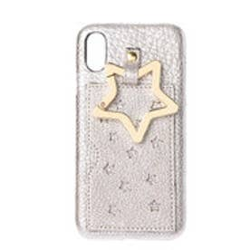 星型パンチングやぎ革iPhoneケース(iPhoneX・XS用) (シルバー)