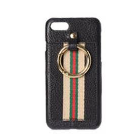 ストライプテープやぎ革iPhoneケース(iPhone6・7・8用) (ブラック)