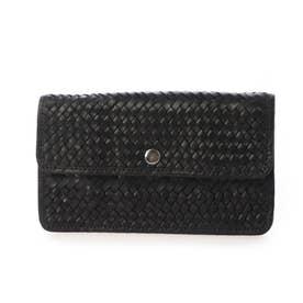 パターンメッシュ牛革かぶせ長財布 (ブラック)