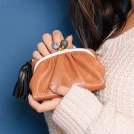 ジェムストーンがま口二つ折り財布 (ミックスキャメル)