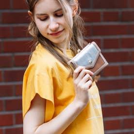 トリミング配色外ガマ二つ折り財布 (MIXSV)