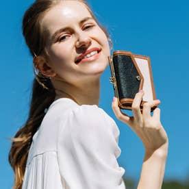 トリミング配色外ガマ二つ折り財布 (MIXBK)