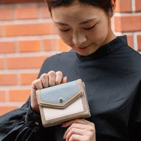 トリミング配色外ガマ二つ折り財布 (MIXBL)