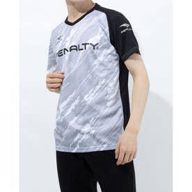 メンズ サッカー/フットサル 半袖シャツ バイアスカモボーダープラトップ PU1008 (ホワイト)