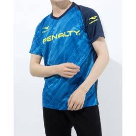 メンズ サッカー/フットサル 半袖シャツ バイアスカモボーダープラトップ PU1008 (ブルー)