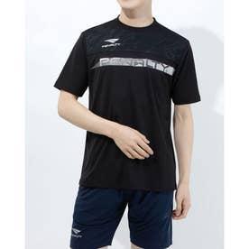 メンズ サッカー/フットサル 半袖シャツ スラッシュロゴTシャツ PT1134 (ブラック)