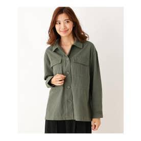 ゆったりワークシャツジャケット (カーキ(027))